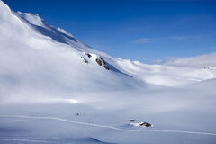 Alps Winter Panorama with the hut Stock Photography