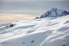 Alps Winter Panorama from the peak Stock Photo