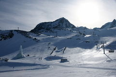 Alps winter view with ski lift Stock Photo