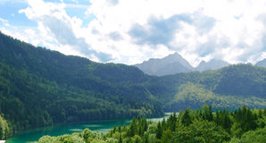 Alpsee Lake in the Forest and Alps Mountains. Bavaria, Germany Stock Photography
