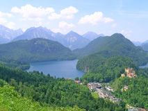 Alpsee with locality of Hohenschwangau Royalty Free Stock Photos