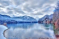 Alpsee sjö i södra Tyskland Arkivfoto