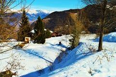 alpy aletsch bettmeralp lodowej celi w hohfluh szwajcarski Szwajcarii Valais świetle Wallis zima Obrazy Stock