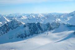 alpy samolotowych świetle czasu konfederacji zimy. Fotografia Stock