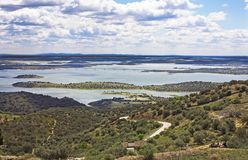 Alqueva jezioro, Monsaraz Obrazy Royalty Free