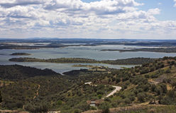 Alqueva lake, Monsaraz. Beautiful view into the lake of Alqueva at Monsaraz in Alentejo, Portugal Stock Images