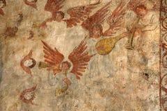 alquezar frescoes spain arkivbild