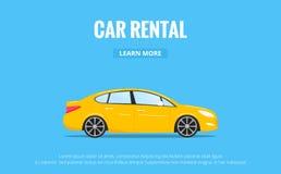 Alquiler de coches Automóvil moderno en estilo de moda con la tipografía para el anuncio, los proyectos Web etc Bandera del alqui Fotografía de archivo