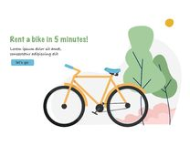 Alquiler de la bici Fondo del concepto del viaje y del turismo con la bicicleta Bandera del web para el alquiler de la bicicleta Foto de archivo