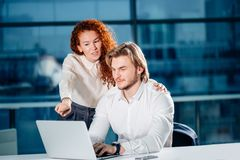 We already have great results. woman pointing at laptop Royalty Free Stock Photos