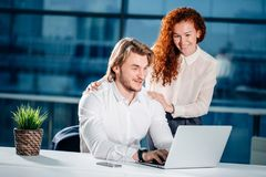 We already have great results. woman pointing at laptop Royalty Free Stock Images