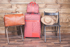 Already packed luggage, suitcase or baggage for travel and adventure Royalty Free Stock Photography
