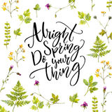 Alright spring, do your thing. Modern calligraphy quote at watercolor greenery illustrations background Stock Photos