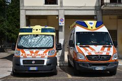 ALS ambulances parked in the town square in Sona stock image