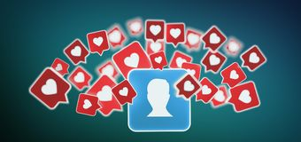 Als bericht op een contact op het sociale media 3d teruggeven Royalty-vrije Stock Afbeeldingen