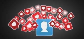 Als bericht op een contact op het sociale media 3d teruggeven Stock Foto's