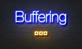 Als buffer optredend voor neonteken op bakstenen muurachtergrond Royalty-vrije Stock Afbeeldingen