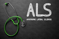 ALS on Chalkboard. 3D Illustration. Royalty Free Stock Photography