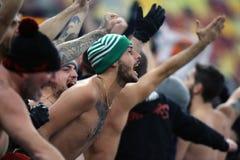 ALS de voetbalventilators van Rome stock afbeeldingen