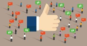 Als duimen omhoog sociaal media openbaar het publiekssymbool van overeenkomsteninternet van koppel terug royalty-vrije illustratie