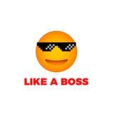 Als een chef- het gezichtsvector van de emojiglimlach Royalty-vrije Stock Afbeeldingen
