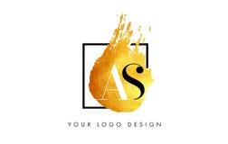 ALS Gouden Brief Logo Painted Brush Texture Strokes Stock Afbeelding