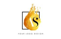 ALS Gouden Brief Logo Painted Brush Texture Strokes Royalty-vrije Stock Afbeelding