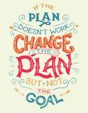 Als het plan doesn ` t werk, het plancitaat verandert vector illustratie
