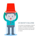 Als ice bucket challenge concept. With flat man pouring cold icy water on his heads and screaming. Vector illustration isolatd on white Stock Photos