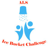 ALS Ice Bucket Challenge concept Vector. Flat vector illustration of ice cold water spilling from red bucket. ALS Ice Bucket Challenge concept symbol Royalty Free Stock Images