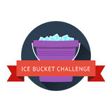 Als ice bucket challenge concept. With bucket with ice and water. Vector illustration on modern flat style with long shadow and red pibbon Royalty Free Stock Photography