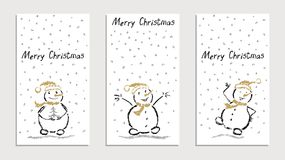 Als jong geitje` s hand getrokken die kaarten met vrolijke Kerstmis grappige glimlachende sneeuwman worden geplaatst met dalende  vector illustratie