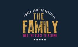 Als Leid oder unglückliches die Familie der Platz waren, zum zurückzugehen lizenzfreie abbildung