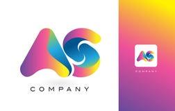 ALS Mooie Kleuren van Logo Letter With Rainbow Vibrant Kleurrijk t Stock Foto's