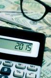 2015, als nieuw jaar, in de vertoning van een calculator Stock Afbeelding