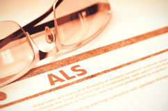 ALS - Printed Diagnosis on Red Background. 3D Illustration. stock photo