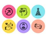 Als, Richting en Kerstboom geplaatste pictogrammen De persoon, Berichten en verfrist posttekens Vector royalty-vrije illustratie