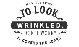 Als u ` aangaande aanvang gerimpeld te kijken, de zorg van ` aantrekken t Het behandelt de littekens stock illustratie
