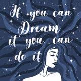 Als u het kunt dromen kunt u het doen Manierillustratie met een mooi citaat en een meisje royalty-vrije illustratie