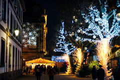 Alsace Christmas MArket best in Strasbourg. STRASBOURG, FRANCE - DEC 20, 2016: Beautiful Christmas Market atmosphere with tourists and locals admiring the MArket Royalty Free Stock Photo