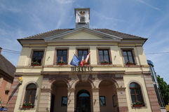 Alsace, the city hall of Westhalten Stock Photo
