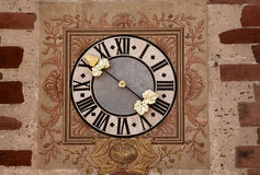 Alsace clock of Hunawihr Stock Photo
