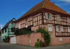 alsace houses traditionellt Royaltyfri Fotografi