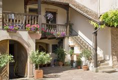Alsace patio. Inner courtyard of a house in Mittelbergheim, a village of a region in France named Alsace royalty free stock image