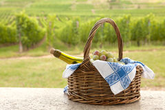 Alsace picnic. Basket and bottle of white Pinot wine in front of a vineyard in Alsace, France Royalty Free Stock Image