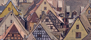 Alsace village, Riquewhir town. France Stock Images
