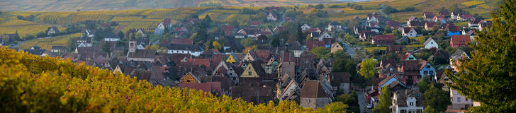 Alsace village, with vineyard, Riquewhir. France Royalty Free Stock Photos