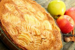 Alsatian apple pie closeup. Royalty Free Stock Photos