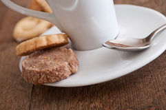 Alsatian cookies and cup of coffee on wooden background Royalty Free Stock Photography