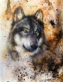 Alsatian dog, painting Abstract spots background Royalty Free Stock Photo